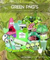 Green png's | Pack by CeciiDeRose