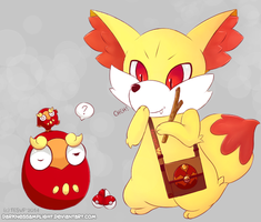 Fennekin and Darumaka by Tesvp