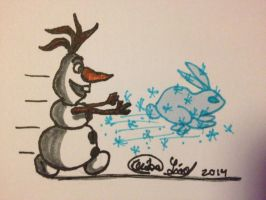 Olaf chase the frost bunny by Tsuki-dono