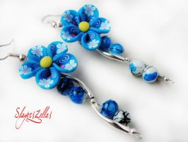 Very flowerly earrings - version blue by Benia1991