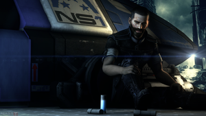 Downtime with bottle of Drink (Mass Effect 3) by toxioneer