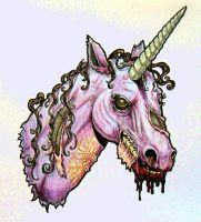 Zombie Unicorn Head - color by harperugby