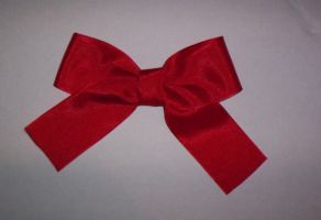 Red Ribbon Bow Brooch by GothicDorothy