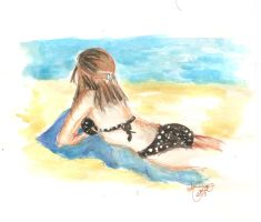 Angela At the Beach. Watercolor and gouache by ATatteredCanvas