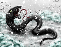 Snake and snow by firael666