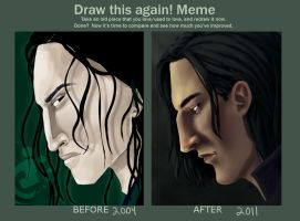 Before and after: Snape by chronicdoodler