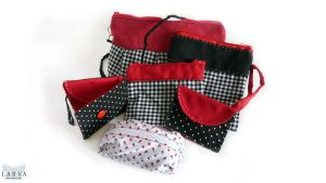 Red, Black and White Pouches by Eisfluegel