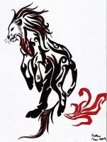 Black  Red Tribal Lion Tattoo by GothWolfGurl13
