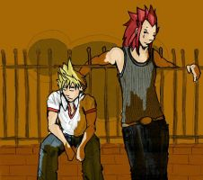 axel and roxas at the gates by blackbird-sing