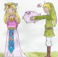 Zelda and Link by mintgold-sky