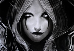 Sylvanas the eyes of the banshee graphite by aymeric2107