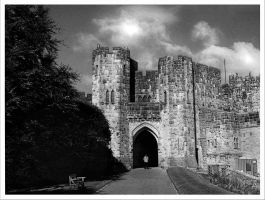 Alnwick Castle Black and White by Silver-Guild