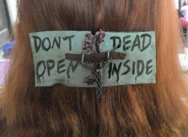 The Walking Dead, hair slide, polymer clay, zombie by CharmsMadeForYou