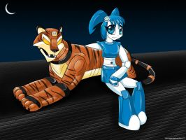 Jenny and robot tiger by teenagerobotfan777