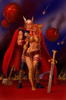 TLIID Valentine's Day Thor and Gaiman's Angela by Nick-Perks