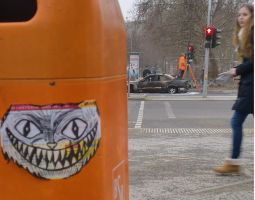 smiling cat sticker [berlin] by gueros84