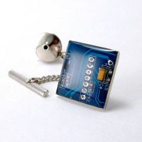 Recycled Blue Circuit Board Tie Tack by Techcycle