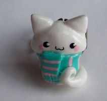 Polymer Clay Kitty Ring by SeaOfCreations