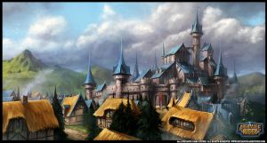 Large Town Illustration for Archmage Rises by RogierB