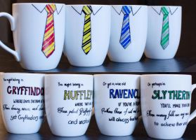 Hogwarts House Tie Mugs by redninjacreations