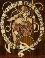 Valkyrie Pyrographic Plaque by DebsDen