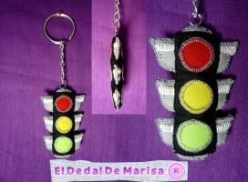 Traffic Light Keychain by MrsSewing