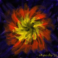 Orange Life Burst Acrylic Painting by ScullyNess