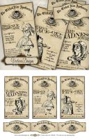 Alice in Wonderland Apothecary Labels by VectoriaDesigns