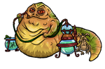 Jabba the Hutt and Salacious Crumb by flaming-trout