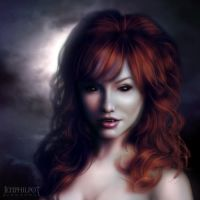 Commission: Redhead Vampire by jocarra