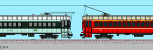 Painted Pacific Electric 'Blimp' Interurban Cars by omega-steam