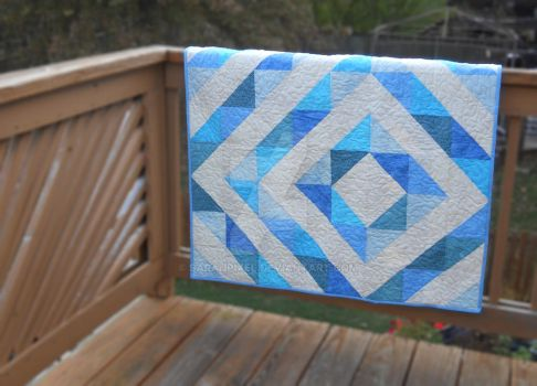 Shades of Blue Half Square Triangles Baby Quilt by SarahPixel