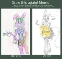 My Cabbit Fursona then and now by SailorSun18