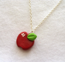 Shiny Red Apple Necklace by MariposaMiniatures