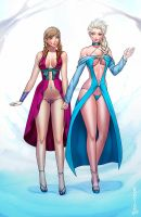 Elsa and Anna by Pop-Lee by AlfonssoZayas
