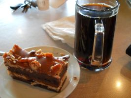 cake with a large coffee by WheresAJacket