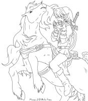 Link and Epona lines by ahitosinea