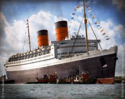 RMS Queen Elizabeth in Color by Kipfox32