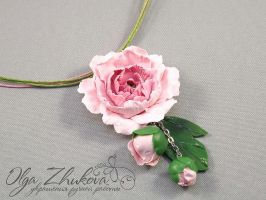 pendant with peony by polyflowers