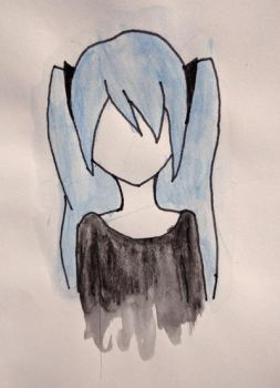 Water Color Pencil Miku by AmyBluee42