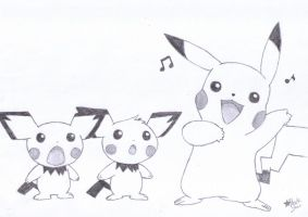 Pikachu singing by BlackStarLGArt
