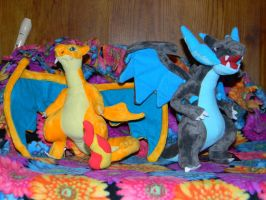 My Charizard X and Charizard Y Plushies by Cattensu