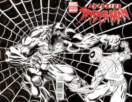 Avenging Spider-man 1 Sketch Cover - vs Venom by ElfSong-Mat