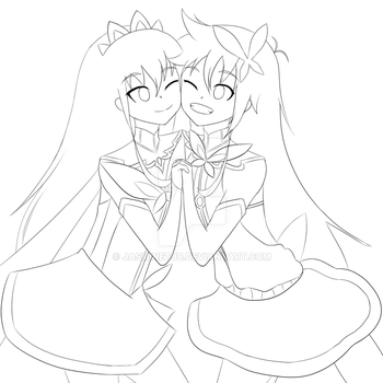 Papika and Cocona lineart by JasmineTJB
