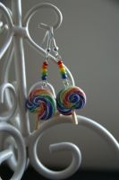 Rainbow lolly earrings by solid-paradox