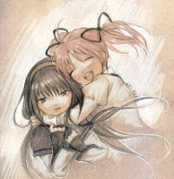 madoka and homura by jurithedreamer