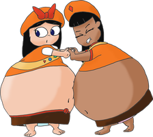 Ginger and Isabella sumo wrestling by JuacoProductionsArts