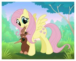 Fluttershy and the Kiwis by DolphyDolphiana