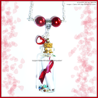 HandMade Necklace: Message in a Bottle Red Accents by izka-197