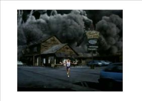 Mo Farah running away from the volcano gas from Da by Justiceavenger